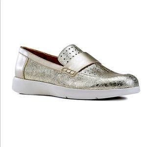 Geox | Arjola Perforated Metallic Leather Loafers